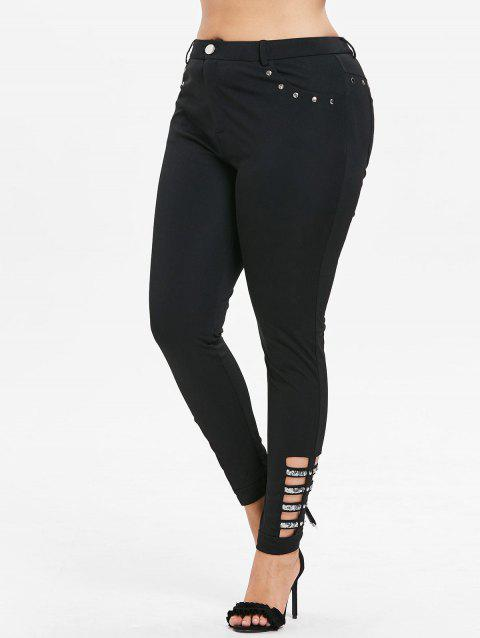 High Waist Plus Size Rhinestone Insert Pants - BLACK 4X