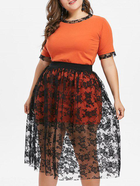 Plus Size Tee and Knee Length Lace Skirt - ORANGE 4X