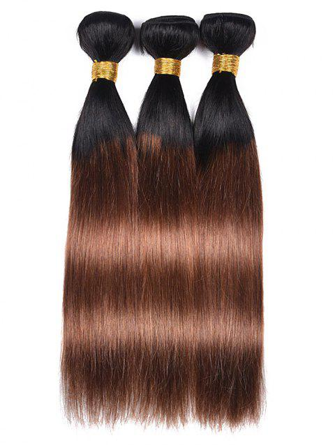 3Pcs Human Hair Ombre Straight Hair Weaves - multicolor 14INCH*14INCH*14INCH