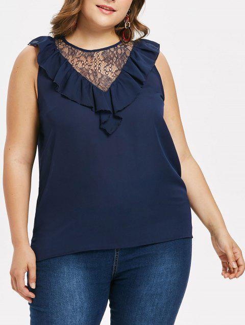 Plus Size Lace Panel Ruffle Blouse - CADETBLUE 1X