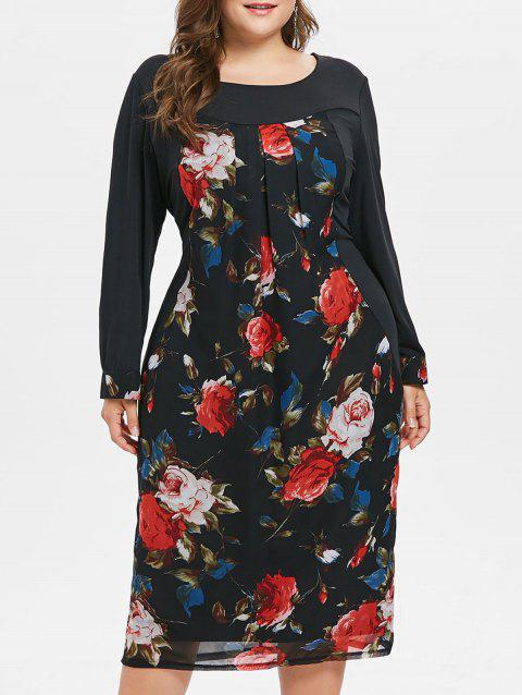 Plus Size Floral Mesh Overlay Dress - BLACK 3X
