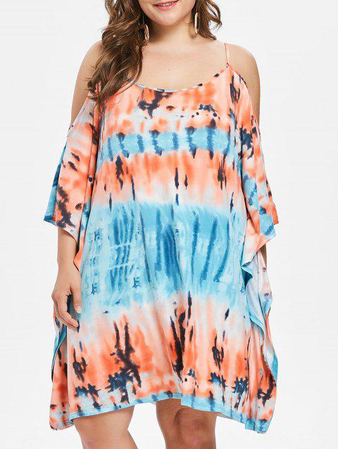 Plus Size Cold Shoulder Knee Length Dress - multicolor 2X