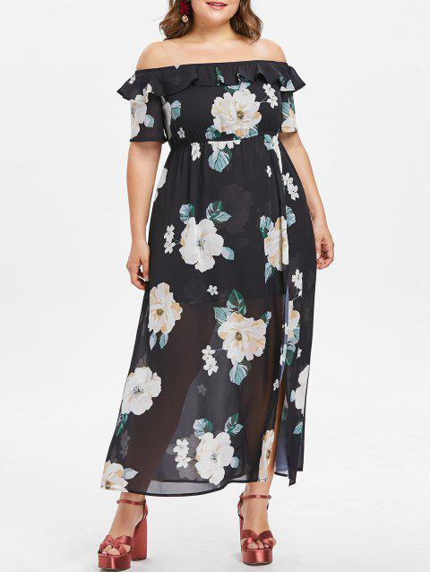 Plus Size Baring Shoulder Floral Slit Dress - BLACK 4X
