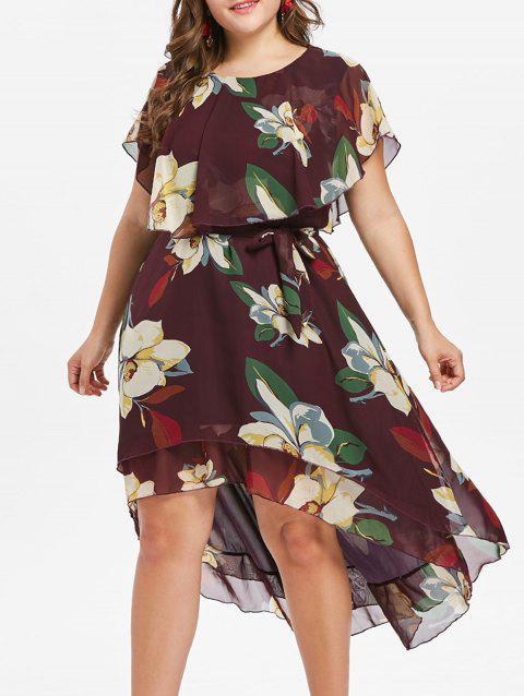 Plus Size Flower Capelet Dress - RED WINE 2X