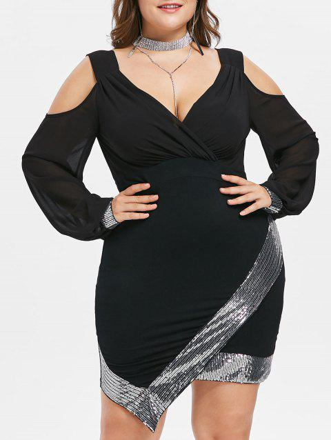 Plus Size Asymmetric Sequins Bodycon Dress - BLACK 3X