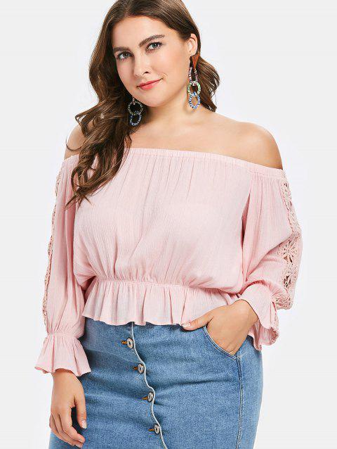 Plus Size Ruffled Blouse - PINK DAISY 4X
