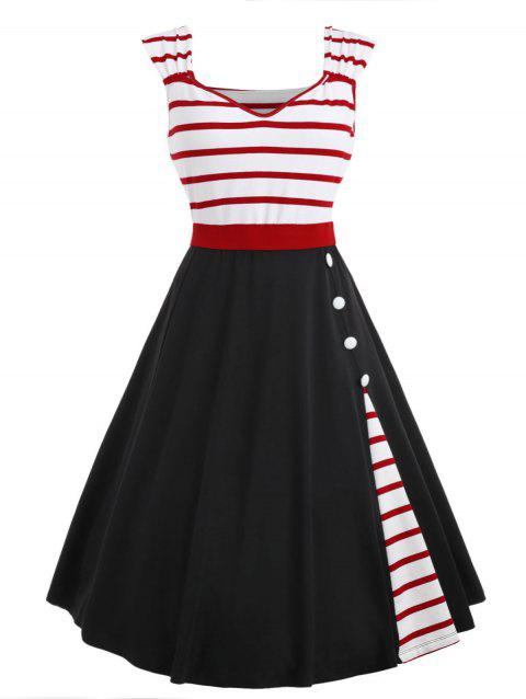 Button Embellished Striped Insert Vintage Dress - BLACK 2XL