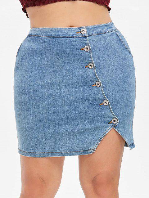 Plus Size Fitted Denim Skirt - DENIM BLUE 2X