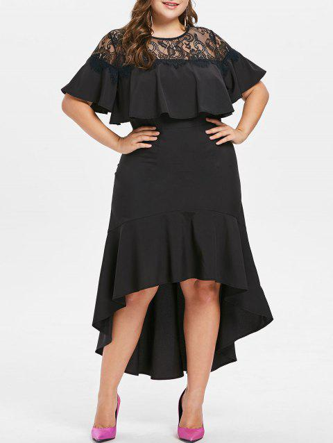 Plus Size Flounce Lace Yoke Maxi Dress - BLACK 3X