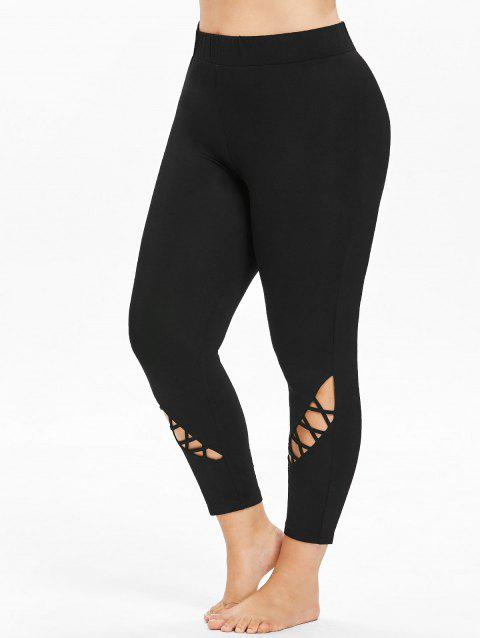 Plus Size Cutouts High Waisted Ankle Leggings - BLACK 5X