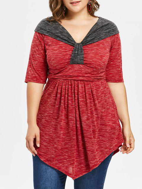 Plus Size Two Tone Empire Waist T-shirt - RED 1X