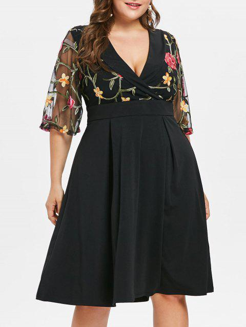Plus Size Shawl Collar Bell Sleeve Flare Dress - BLACK 2X