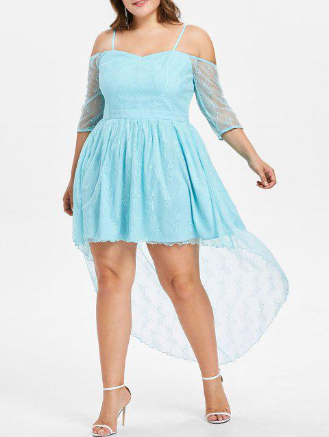 Plus Size Lace High Low Dress - LIGHT SKY BLUE 1X