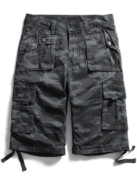 Camouflage Zip Fly Pockets Cargo Shorts - CARBON GRAY S