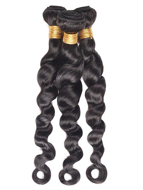 Loose Wave 3Pcs Real Human Hair Wefts - BLACK 14INCH*14INCH*14INCH
