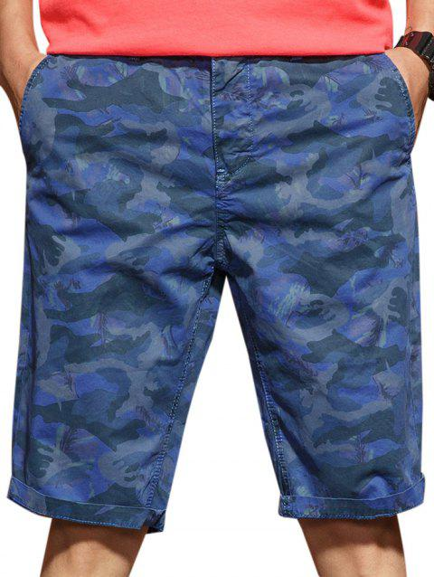 Casual Zip Fly Camo Shorts - DEEP BLUE L