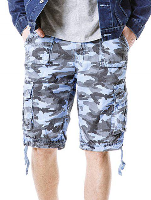 Camouflage Zip Fly Pockets Cargo Shorts - SKY BLUE L