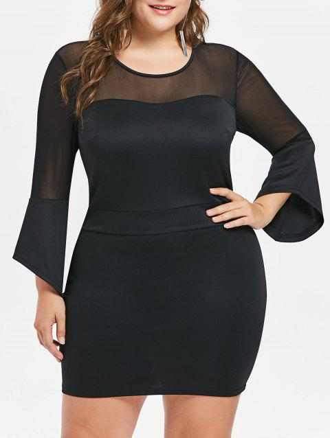 Plus Size Mesh Panel Bodycon Dress - BLACK 3X