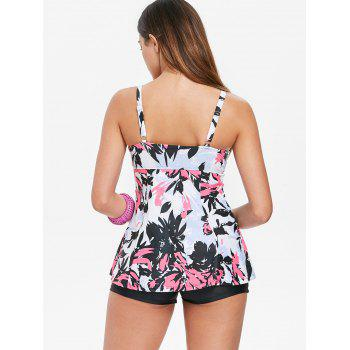 Floral Twisted Cami Tankini Set - NEON PINK XL