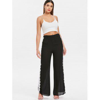 Lace Crochet Wide Leg Pants - BLACK L