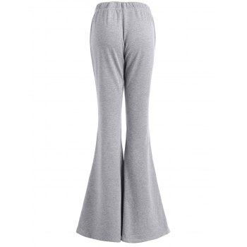 High Rise Ripped Bell Bottom Pants - GRAY XL