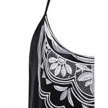 Embroidery Cami Top - BLACK XL