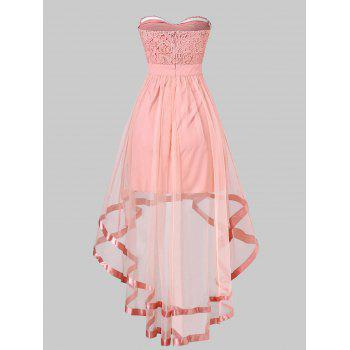 Strapless High Low Maxi Evening Dress - PINK XL