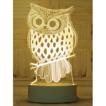 Lampe de Table à 3 Changements de Couleurs Motif Hibou 3D - multicolor