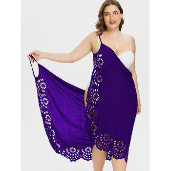 Plus Size Scalloped Cover Up Dress - PURPLE 3X