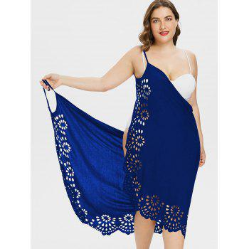 Plus Size Scalloped Cover Up Dress - DEEP BLUE 1X