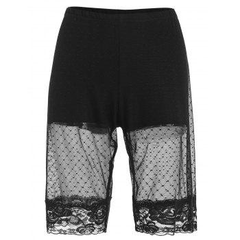 Plus Size Lace Trim Mesh Thigh Shorts - BLACK 2X