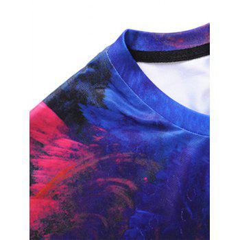 3D Colorful Clouds Printed Tee - BLUE L