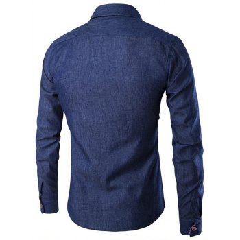 Patch Plaid Cloth Single Breasted Long Sleeve Shirt - BLUE JAY L