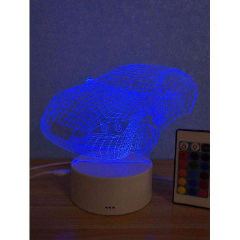 3D Car 3 Color Changing Mini Table Lamp - multicolor