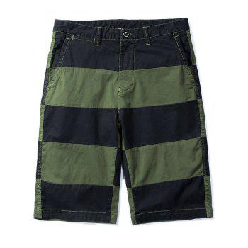 Wide Stripe Contrast Color Bermuda Shorts - ARMY GREEN M