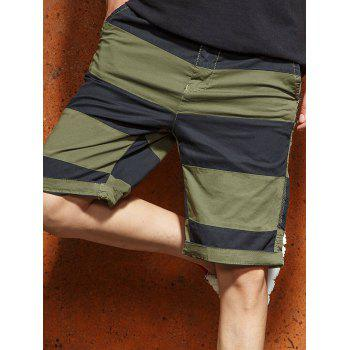 Wide Stripe Contrast Color Bermuda Shorts - ARMY GREEN 2XL
