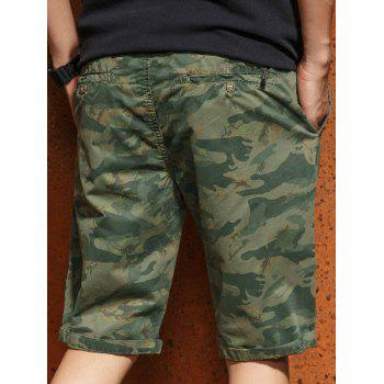 Casual Zip Fly Camo Shorts - ARMY GREEN M