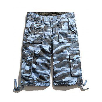 Camouflage Zip Fly Pockets Cargo Shorts - SKY BLUE 2XL
