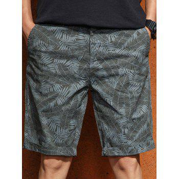 Allover Leaves Print Bermuda Shorts - ARMY GREEN S