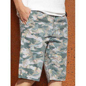 Casual Zip Fly Camo Shorts - LIGHT GRAY L