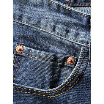 Badge Patchwork Ripped Straight Jeans - BLUE JAY 38