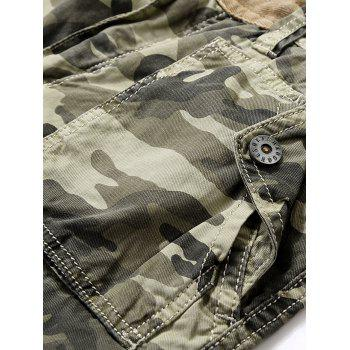 Camouflage Zip Fly Pockets Cargo Shorts - DARK FOREST GREEN L