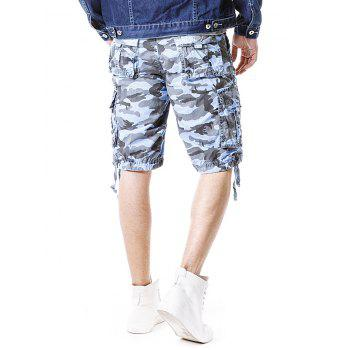 Camouflage Zip Fly Pockets Cargo Shorts - SKY BLUE S