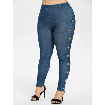Plus Size Polished Grommets Side Jeggings - DENIM BLUE 4X