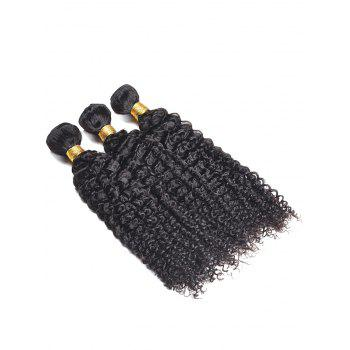 3Pcs Kinky Curly Human Hair Weaves - BLACK 20INCH*20INCH*20INCH