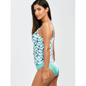 Anchor Print Keyhole Backless Tankini Swimsuits - NORTHERN LIGHTS BLUE XL