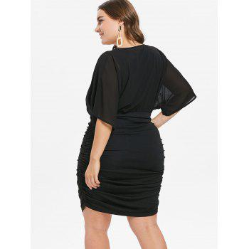 Plus Size V Neck Rhinestone Embellished Dress - BLACK 4X