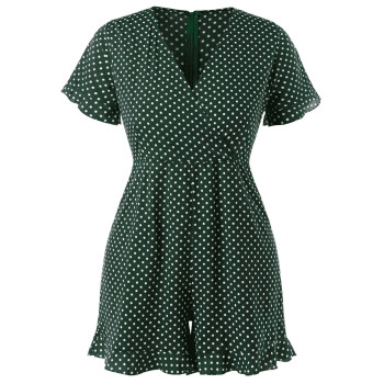 Plus Size Polka Dot Ruffled Romper - DARK FOREST GREEN 2X