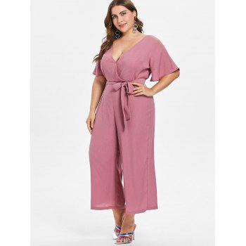 Plus Size V Neck Belted Jumpsuit - TULIP PINK 1X