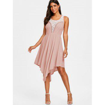 Lace Insert Sleeveless Prom Dress - PINK L